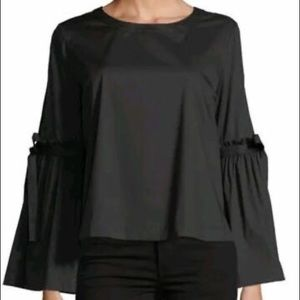 Laundry By Shelli Segal Bell Sleeve Black Top